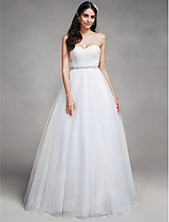 LAN TING BRIDE A-line Wedding Dress Simply Sublime Chapel Train Sweetheart Tulle with Beading Lace