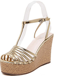 Women's Shoes Leatherette Summer Wedges / Open Toe Sandals Dress / Casual Wedge Heel Others Silver / Gold