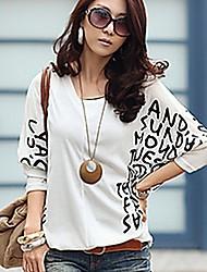 Damen Druck Einfach Lässig/Alltäglich T-shirt,V-Ausschnitt Sommer Langarm Weiß / Schwarz / Grün Baumwolle Dünn