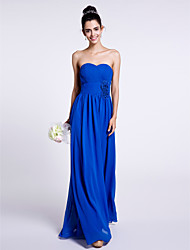 Lanting Bride Floor-length Chiffon Bridesmaid Dress Sheath / Column Strapless with Flower(s) / Criss Cross