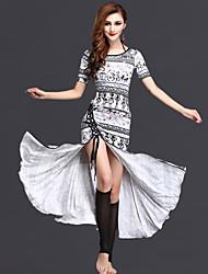 Dança do Ventre Vestidos Mulheres Actuação Fibra de Leite Padrão/Estampado / Frente Dividida 2 Peças Manga Curta Natural Vestidos / Shorts