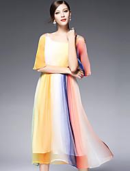 AFOLD® Damen Rundhalsausschnitt 1/2 Ärmel Maxi Kleid-5587