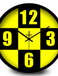 Simple Yellow Digital Home Decoration Silent Quartz Wall Clock
