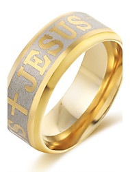 Antique Finishing Band Stainless Steel Ring Vintage Jesus  Ring Style Luxury Ring for Men Gold Silver Plated