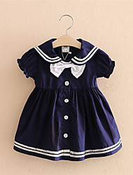 Short-Sleeved Dress Baby Girl Clothing Children Bow Dress