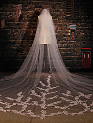 Wedding Veil Two-tier Cathedral Veils Cut Edge Tulle / Lace Ivory Ivory