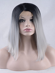 Fashion Ombre Gray Color Straight Synthetic Lace Front Wig For Lady's