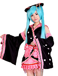 Inspired by Vocaloid Hatsune Miku Video Game Cosplay Costumes Cosplay Suits Patchwork Black Kimono Coat