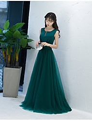 Ball Gown Notched Sweep / Brush Train Tulle Evening Dress with Bow