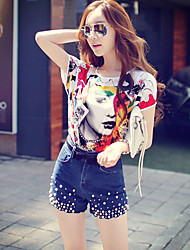 Pink Doll® Women's Print Round Neck Short Sleeve Casual Shirt & Blouse Multi-X15BST031