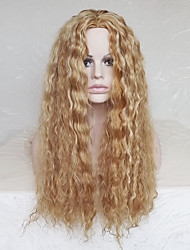 COS Wig Points in Small Volume 28 Inch Light Golden Brown Curly Hair Wig Polyester Dyeing