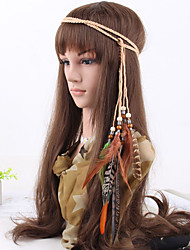 Women's Bohemia Fabric Feather Beads Weave Headbands 1 Piece