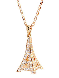 HKTC Women's Crystal Eiffel Towner CZ Diamond Necklaces & Pendants 18K Rose Gold Plated Fashion Brand Jewelry