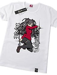 Inspirado por Fate/zero Rin Tohsaka Anime Fantasias de Cosplay Tops Cosplay / Bottoms Estampado Manga Curta Camiseta Para Unisexo