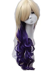 Newest Long Ombre Beige Mixed Purple Popular Fashion Cosplay Wigs