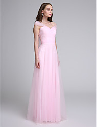 Lanting Bride Floor-length Tulle Bridesmaid Dress A-line Off-the-shoulder with Criss Cross / Ruching