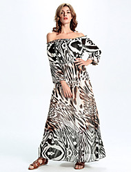 Women's Going out / Holiday Boho A Line / Chiffon Dress,Color Block Strapless Maxi Long Sleeve Multi-color Polyester