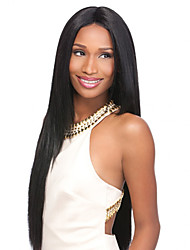 22inch Capless Women Long Yaki Straight Natural Black Synthetic Wigs Middle Bang with Free Hair Net