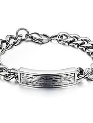Men's Hight Quality Titanium Steel Silver Chain ID Bracelet