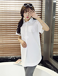 Maternity Shirt Collar Ruched Shirt,Cotton Short Sleeve