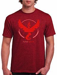 Cartoon Game Spirit Men  Wear T Shirt-Red