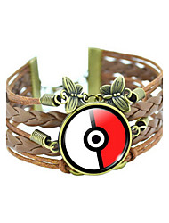 Pocket Monster Poke Ball Cartoon Pattern PU Leather Bracelet