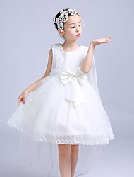 A-line Asymmetrical Flower Girl Dress - Cotton / Satin / Tulle Sleeveless Jewel with