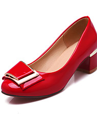 Women's Shoes Patent Leather Spring / Fall Heels / Comfort / Round Toe Heels Office & Career / Casual Chunky HeelBowknot