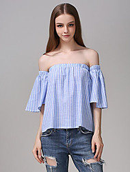 Women's Casual/Daily Street chic Summer Blouse,Striped Boat Neck Short Sleeve Blue Cotton Medium