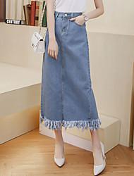 Women's Solid Blue Slim Thin Denim Skirts,Casual / Day / Street chic Tassel Split Midi Preppy Chic Cotton