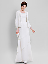 Sheath / Column Plus Size / Petite Mother of the Bride Dress - Wrap Included Floor-length Long Sleeve Chiffon with Beading / Tiers