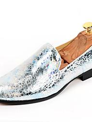 Серебристый / Золотистый Мужская обувь Для офиса Материал на заказ клиента Туфли на шнуровке