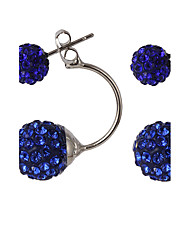 Multicolor Luxury Both Sides Wear Candy-colored Crystal Ball Diamond Fashion Earrings