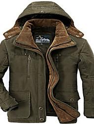 Manteau Rembourré Pour des hommes Normal Manches longues Couleur plaine Coton