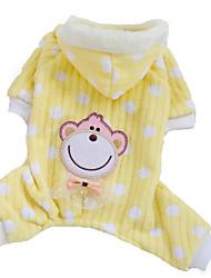 Dog Hoodie / Pajamas Pink / Yellow Dog Clothes Winter Polka Dots