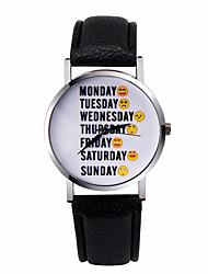 semana emoticonos reloj carta de reloj reloj de las mujeres de la manera relojes reloj del cuarzo