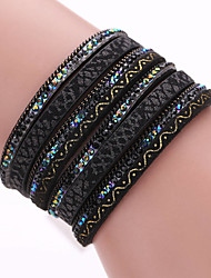 Fashion Multilayer Pu Leather Magnetic Clasp Bracelets For Men And Women
