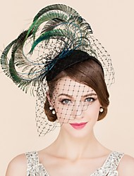 Women's Feather / Tulle Headpiece-Wedding / Special Occasion / Casual Fascinators / Hats 1 Piece Green Irregular None