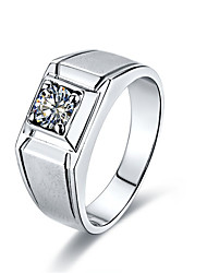 Man Jewelry 0.5CT Solitaire Engagement Ring SONA Diamond Solid Silver for Male Platinum Plated Pt950 Print High Quality