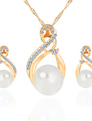 Trendy Jewelry Sets Wedding Gold Silver Color Earrings Imitation Pearl Bridesmaid Set Women Necklace Set
