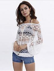 # Femme Epaules Dénudées Manches 3/4 Shirt et Chemisier Blanc-520990831866