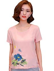 Vrouwen Street chic Zomer T-shirt,Casual/Dagelijks Geborduurd Ronde hals Korte mouw Roze / Beige Katoen / Polyester Medium