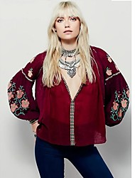 Women's Going out Vintage Summer Blouse,Embroidered Deep V Long Sleeve Red Cotton Translucent