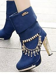 Ботинки Армейские ботинки Полиуретан Осень Повседневные Армейские ботинки С кисточками На толстом каблуке Черный Синий