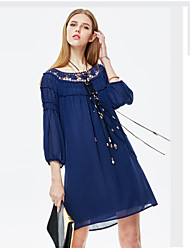 heartsoul vrouwen uitgaan eenvoudige chiffon jurk, solide ronde hals boven de knie ¾ mouw blauwe polyester zomer