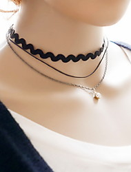 Necklace Choker Necklaces Jewelry Halloween / Daily / Casual Sexy / Fashion Lace / Fabric Black-White 1pc Gift