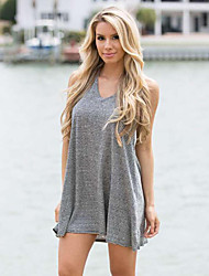 Women's Going out Street chic A Line Dress,Striped V Neck Mini Sleeveless Gray Others Summer