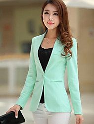 Women's OL Style Solid Slim Candy Color All Match Blazer Simple V Neck Long Sleeve