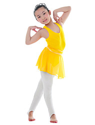 Ballet Leotards Children's Training Cotton Pleated 1 Piece Sleeveless Natural Leotard Kid's Dance Costumes