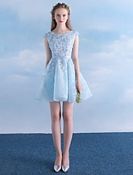 Short / Mini Lace Bridesmaid Dress - A-line Scoop with Appliques